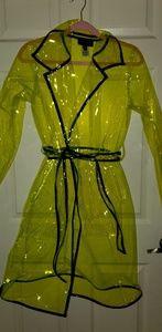 Slime green vinyl trench coat